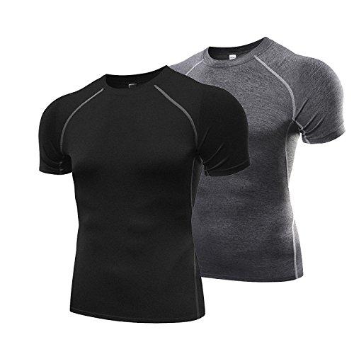 4계절용 반소매 가압 이너 2세트 가압 셔츠 라운드 넥 스포츠 셔츠 [UV컷・흡한 속건] Compression 웨어 파워 스트레치 언더 웨어
