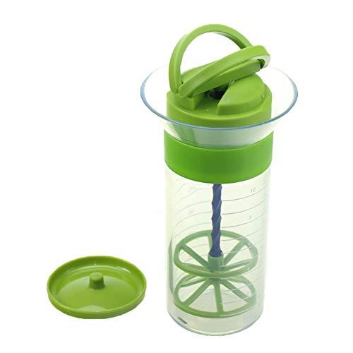 300ml Mixer Dressing Sauces Frother Whisk Salad Dressing Liquid Seasoning Mixer, Shaker Cup Manual Cream Egg White Mixer Gadget(Green)
