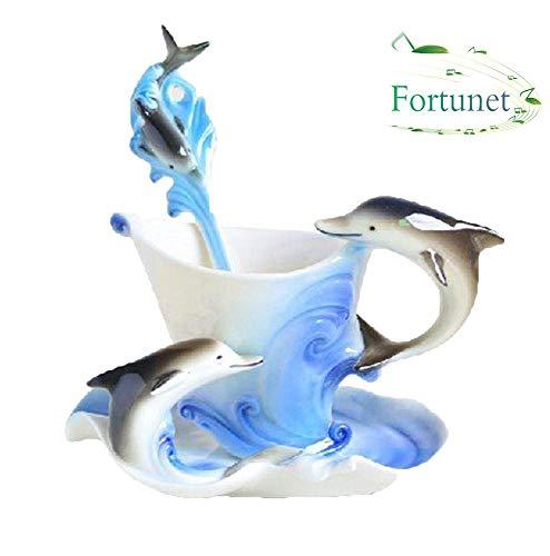 Collectible Theme Mug Christmas - KOBWA 3D Dolphin Cup Set, China Porcelain Tea Cup and Saucer Coffee Cup Mug Perfect Porcelain Collectable Fine Arts Dolphin Theme Romantic Creative Present for Wedding/Christmas Three Sets