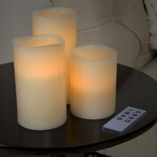 Cyclone Costumes (The Pecan Man Set of 3 LED Flameless Candle Set with Remote)