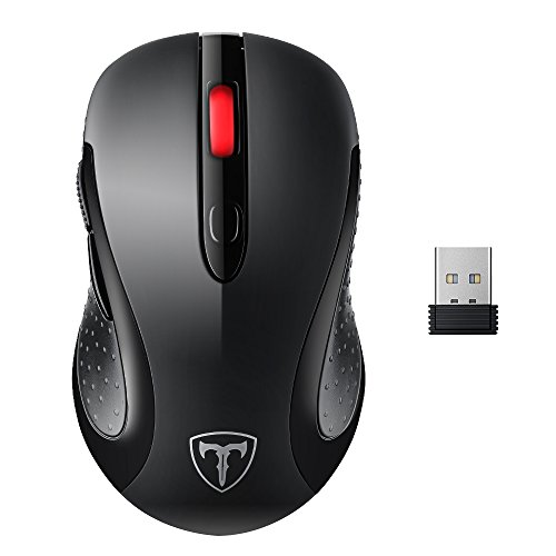 VicTsing 2.4G Wireless Mouse Wireless Optical Laptop Mouse with USB Nano Receiver, 6 Buttons,5 Adjustable DPI Levels,15 Months Battery - Off 50 Friday Black