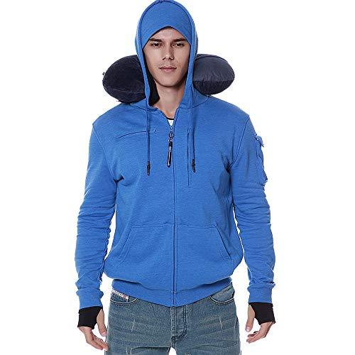 - BOMBAX Men Travel Jacket 10 Pocket Zip Up Hoodies Sweatshirt Pillow Eye Mask Blue