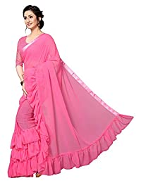 ETHNICMODE INDIA Indian Women Georgette with Ruffle Border Style Saree with Blouse Piece Triple Ruffle Pink