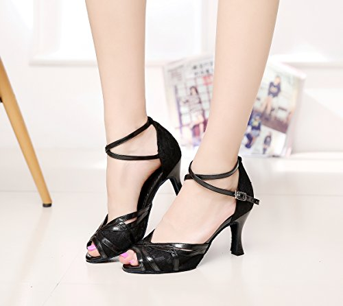 Style Shoes Ballroom Lace UK Cross Dance Latin M Black Women's QJ6207 Strap MINITOO 7 pvAw5A