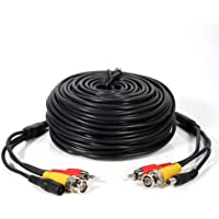 Masione 100ft Feet CCTV Cable AV Video Audio & Power Cord for Video Security Surveillance Camera with 2 RCA Male to BNC Female Connectors 3JG Black