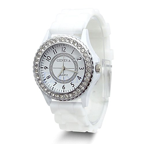 Hot Sell Geneva Silicone Women Bling Crystal Rhinestone Bezel Rubber Jelly Watch White by princessdress08