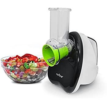 NutriChef Salad Maker - Electronic Shredder, Slicer, Chopper, & Shooter with One-Touch Control and 5 FREE Attachments (PKELS70)