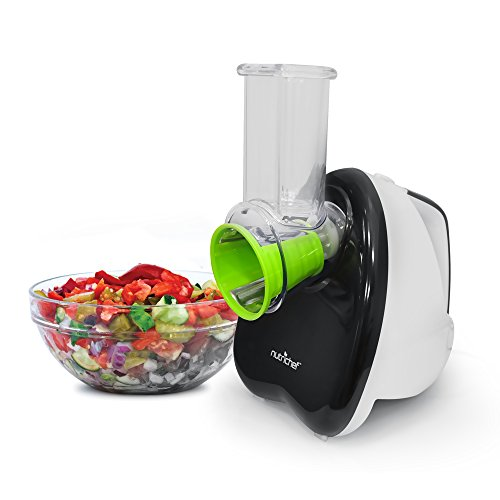 Professional Salad Shooter Electric Slicer (NutriChef Salad Maker - Electronic Shredder, Slicer, Chopper, & Shooter with One-Touch Control and 5 FREE Attachments)