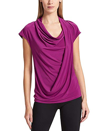 Cowl Drapey - DKNY Womens Drapey Cowl Neck Pullover Top Purple M