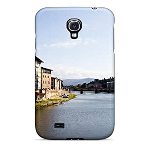 Bernardrmop Scratch-free Phone Case For Galaxy S4- Retail Packaging - River Through Florence Italy