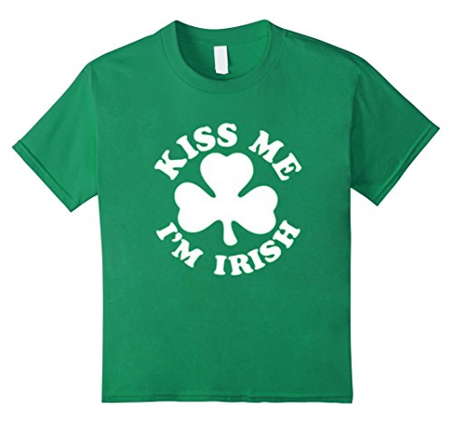 Kids KISS ME I'M IRISH ST PATRICK'S DAY T SHIRT 6 Kelly Green