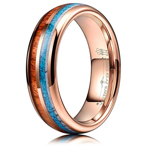 - THREE KEYS JEWELRY 6mm Rose Gold Tungsten Wedding Ring with Real Koa Wood Antler Turquoise Inlay Dome Hunting Ring Wedding Band Engagement Ring Size 5.5