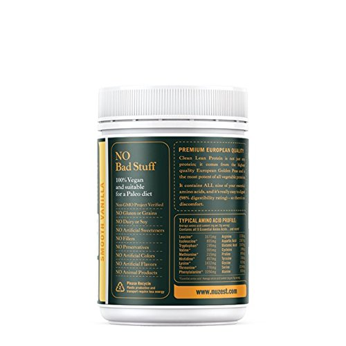 Nuzest Clean Lean Protein - Premium Pea Protein Powder, Plant-Based, Vegan, Dairy Free, Gluten Free, GMO Free, Naturally Sweetened, Smooth Vanilla, 9 Servings, 7.9 oz by NuZest (Image #2)