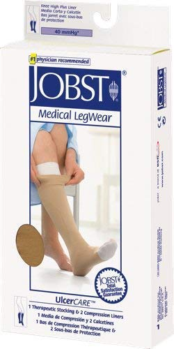 BSN Jobst UlcerCare Zippered Knee High Compression Stockings and Liner Large, Right Closure, Beige, Open Toe, Unisex, Re-usable (1 Each)