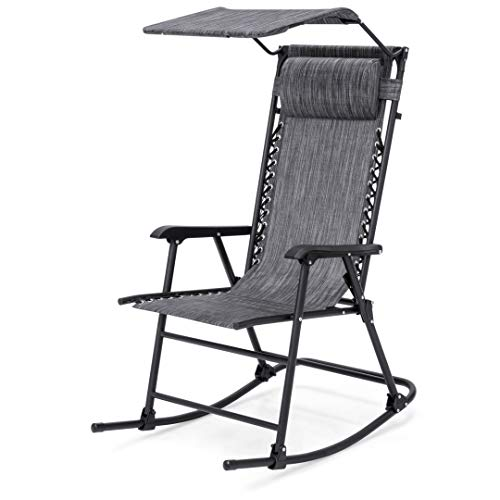 Modern Zero Gravity Foldable Rocking Patio Chair Lightweight Space-Saving Design Solid Powder Coated Frame with Canopy Indoor-Outdoor Furniture Decor - (1) Grey #2058