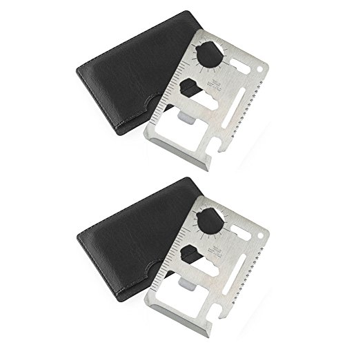 Gifts for Men Credit Card Survival Wallet Multi Tool ( 2 Pack ) Think Stainless - Stainless Multi Card Tool Steel