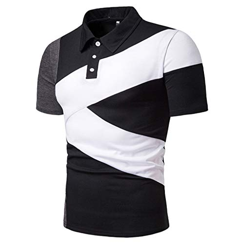 (POQOQ T Shirts Polo Tops Blouse Men's Short Sleeve Pique Classic Fit Polo Shirt Men's Big & Tall Pique Polo Shirt Men's Classic Short Sleeve Polo Shirt XL Black)