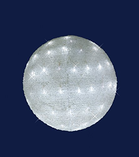 SFERA LUMINOSA IN ACRILICO 60 LED BIANCO GHIACCIO - D.30CM. DI CUI 12 LED FLASH