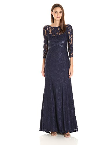 Adrianna Papell Women's L/s Lace Gown With Beaded Detail