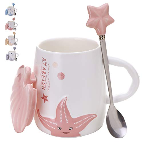 Adorable Ceramic Coffee Mug - Beautiful 14oz Tea Mugs Set With Matching Lid & Spoon - Large Pottery Drinking Cup - Dishwasher & Microwave Safe Cups - Perfect Birthday Present (Pink) (Beautiful Pottery Mugs)