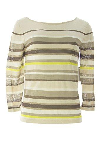 Velvet by Graham & Spencer Women's Striped Viscose Blend Boat Neck Top Medium Citron ()