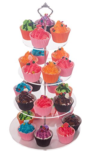 4 Tiers Round Lifting Handle Wedding Cupcake Stand (Silver) (Cupcake Stands For 150 Cupcakes compare prices)