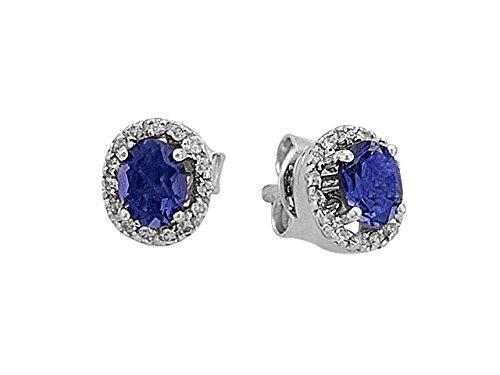 Boucles d'Oreilles Saphir Oval et Diamants-Femme- or Blanc 205E0022