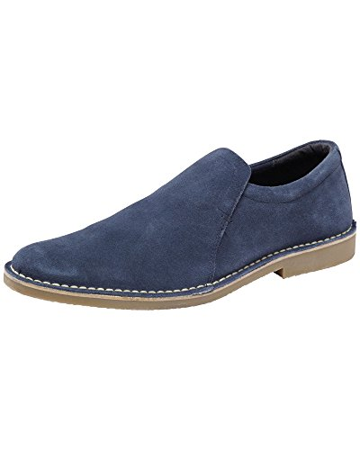 Cotton Traders Mens Casual Suede Slip-On Elastic Insert Desert Comfort Shoes E Fit French Blue 10 GJBFwOK44