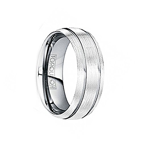 Crown Ring Marinus Wire Brushed Tungsten Comfort Fit Band with Polished Grooves 6mm /& 8mm