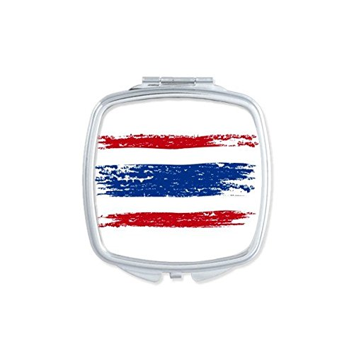Kingdom of Thailand Thai Traditional Customs Watercolor Drawing Thailand Flag Art Illustration Square Compact Makeup Pocket Mirror Portable Cute Small Hand Mirrors by DIYthinker