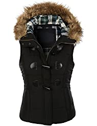 Image result for MBE Women's Quilted Zip Up Vest With Detachable Hood