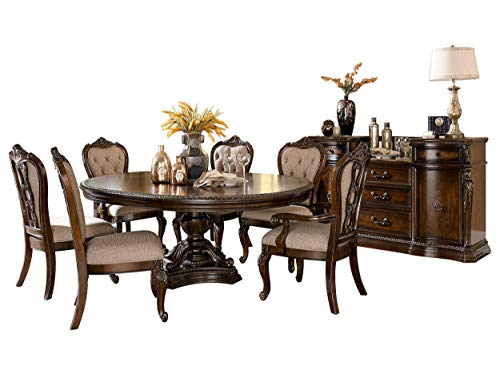 Bautistia Italian Country 8PC Dining Set Round/Oval Pedestal Table, 2 Arm, 4 Side Chair, Server in Cherry