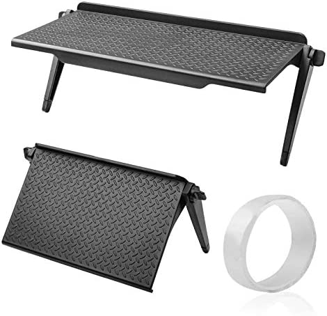 2 Pieces TV Screen Top Shelf 11.8 Inch and 8.5 Inch Adjustable TV Top Storage Bracket Monitor Top Shelf Computer Screen Shelf and 1 M Multipurpose Removable Traceless Mounting Tape