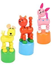 Kisangel 3Pcs Wood Animal Finger Puppets Press Base Toys Thumb Puppet Figurine Toys Spring Swinging Toy for Kids Dancing Animal, Mixed Style