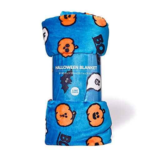 LINE FRIENDS Pumpkin Trio Halloween Series - Character Patterned Throw Blanket for Indoor/Outdoor, Blue