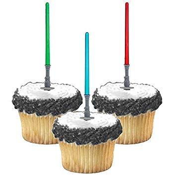 Adorox Star Wars Lightsaber Cupcake Picks Toppers Birthday Fun Party Decorations Kit (24) (Wilton Star Wars)