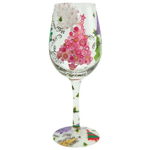 Santa Barbara Design Studio GLS11-5521M Lolita Love My Wine Hand Painted Glass, O Christmas Tree For Sale