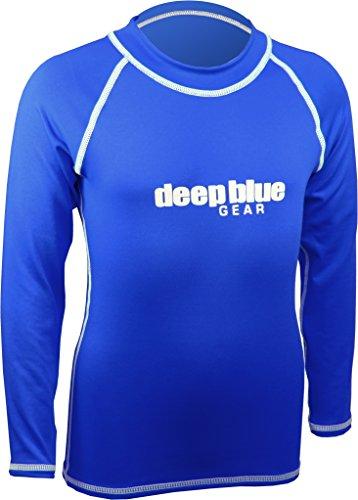 Deep Blue Gear Kids Long Sleeve Rashguard, 10, Blue ()