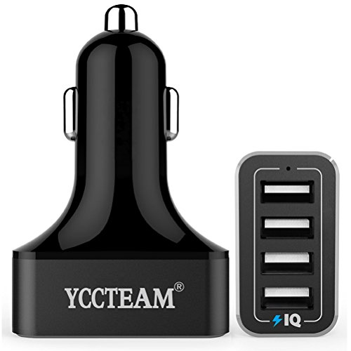 4-Port USB Car Charger, YCCTEAM 9.6A 48W 4 Port USB Car Charger with Smart Technology for iPhone 7 6s 6 6 plus, iPad Air 2, Samsung Galaxy S6/Edge / Plus, Nexus, HTC, Motorola, Nokia and More (Black)