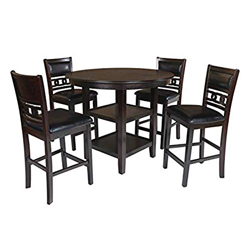 New Classic Furniture Gia Counter 5 Piece Dining Set, Ebony (Plus Dinettes Furniture)