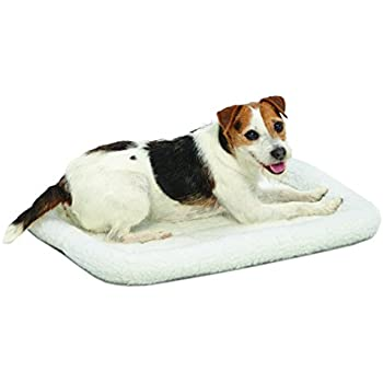 "MidWest Deluxe Bolster Pet Bed for Dogs & Cats; Pet Bed Measures 24L x 18W x 2.25H Inches & Fits Standard 24""L Wire Dog Crate, White Fleece"