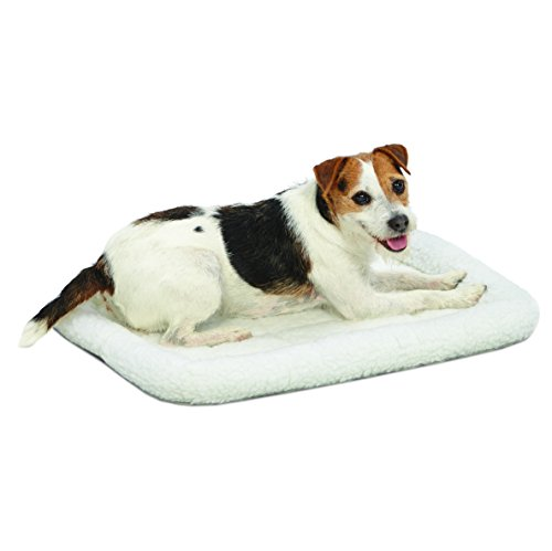 "MidWest Deluxe Bolster Pet Bed for Dogs & Cats; Pet Bed Measures 24L x 18W x 2.25H Inches & Fits Standard 24"" L Wire Dog Crate, White Fleece"
