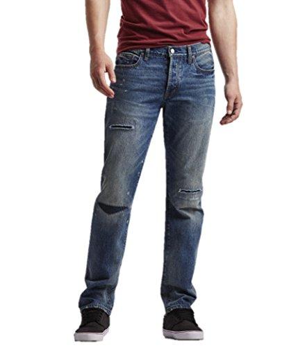 Aeropostale Mens Straight Medium Rip Repair Jeans 27x28 Blue