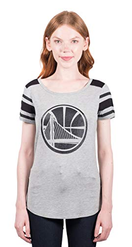 Ultra Game Womens NFL Box Out Varsity Stripe Tee Shirt, Golden State Warriors, Heather Gray, Small