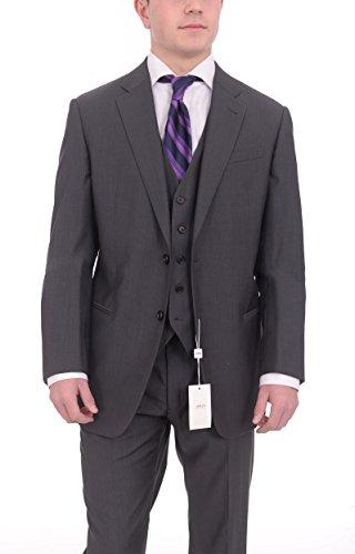 Armani Collezioni Giorgio Slim Fit 44r 54 Gray Striped Three Piece Wool ()