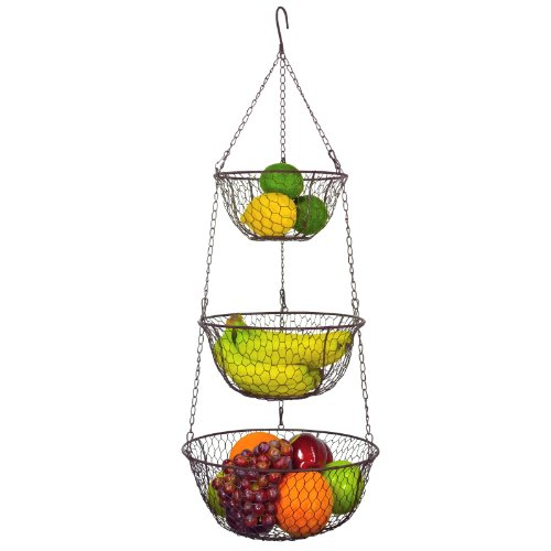 3 Tier Chain Hanging Space Saving Rustic Country Style Chicken Wire Fruits / Produce / Plants Storage Baskets