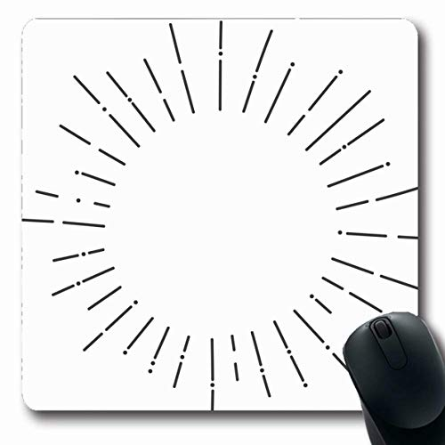 Ahawoso Mousepads Minimal Circle Sunbursts Graphic Abstract Burst Minimalism Star Line Geometric Simple Classic Design Oblong Shape 7.9 x 9.5 Inches Non-Slip Gaming Mouse Pad Rubber Oblong Mat