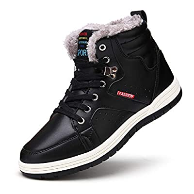 SONLLEIVOO Mens Snow Boots Winter Boot Waterproof Fashion Sneaker Black Lace up High Top Winter Shoes