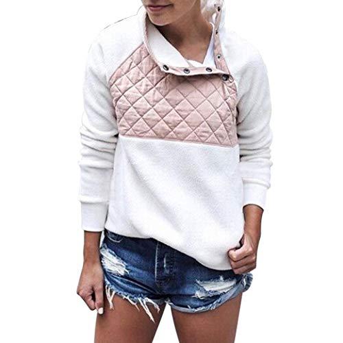 Neck Shirt Zip Fleece (Rambling Women's Warm Long Sleeves Oblique Button Neck Splice Geometric Pattern Fleece Pullover Coat Sweatshirts Outwear White)