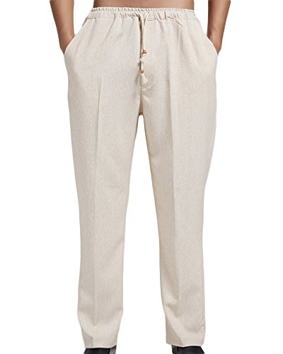 ONCEFIRST Men's Linen Pants With Drawstring Straight Pants Yoga Beach Summer Trousers Beige X-Large by ONCEFIRST